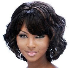 bob hairstyles african american middle part African American Women Middle Length Body Wave Full Bang Capless Synthetic Wigs 12 Inches Medium Bob Hairstyles, Short Bob Haircuts, Short Hairstyles For Women, Wig Hairstyles, Black Hairstyles, Haircut Short, Beautiful Hairstyles, Short Wavy Bob, Short Hair Cuts