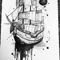 Flash sharing page 🖊 ( Boat Painting, Sketch Painting, Sketch Drawing, Diy Tattoo, Tattoo Ship, Tattoo Art, Maritime Tattoo, Ankle Tattoo Small, Ankle Tattoos