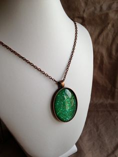 Nail Polish Necklace  Large Oval with Green by PolishedFindings