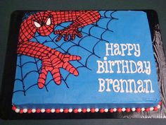 Happy Birthday Brennan! This is a white cake with cookies-n-cream filling and buttercream icing.