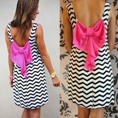 Sexy Women Stripe Bowknot Evening Party Dress Summer Beach Casual Backless Dress #Unbranded