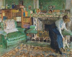 """""""Marguerite Chapin in her apartment with her dog"""" (1910)     Edouard Vuillard"""