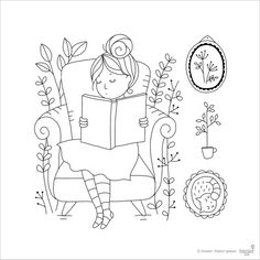 Clear Stamp Set Reading Time card making paper by TamarNahirYanai