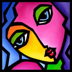 Abstract painting Modern pop Art Contemporary Portrait FACE by Fidostudio - Once Again