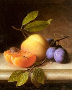Stilleben Mit Pfirsich Und Pflaumen (Still Life with Peaches and Prunes) oil painting by Joseph Peter Wilms, The highest quality oil painting reproductions and great customer service! Painting Still Life, Paintings I Love, Oil Paintings, Still Life Fruit, Fruit Painting, Caravaggio, Fruit Art, Arte Floral, Still Life Photography