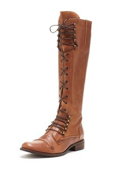 "Charles by Charles David  Registry Tall Boot  ou'll have many style options with the Registry Tall Boot.  - Round toe  - Lace-up vamp  - Zip side closure  - Back pull tab  - Approx. 1"" heel  - Approx. 14.5"" shaft height, 14"" opening circumference  - Made in Italy  $445.00"