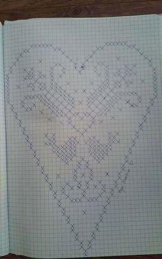 Filet Crochet Charts, C2c Crochet, Thread Crochet, Crochet Doilies, Free Crochet, Crochet Tablecloth Pattern, Crochet Patterns, Fillet Crochet, Cross Stitch Heart