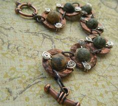 Green Beaded Copper Washer Bracelet with Silver Spiral Accents, Mystic . Washer Bracelet, Mystic Moon, Hardware Jewelry, Pendant Earrings, Copper Jewelry, Bracelet Designs, Handmade Bracelets, Earthy, Washers