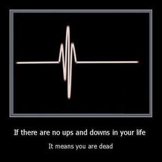 If there are no ups and downs in your life....It means you are dead..