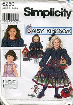 Simplicity Daisy Kingdom Pattern 8260 Girls' Dress and Matching Doll Clothes