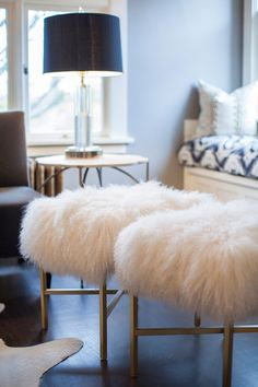 Shag Stools - Transitional - living room - coco & kelly
