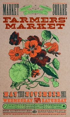 I actually LOVE this flyer, it's simple, it's clean and it's perfect for the event. What's better for a farmer's market than a rustic looking poster? I do think that the orange letters do clash a bit with the light brown background making it a little hard to read.