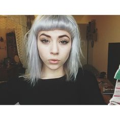 • colored hair dyed hair fringe silver hair Bangs nose ring short bangs modifiedbeautiful •
