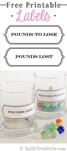 Great visual reminder for anyone who is trying to lose a few pounds!  Good for motivation.  Free-printable-labels-Pounds-Lost-Pounds-to-Lose  #freeprintables