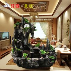 Feng shui wheel water fountain humidifier crafts home decoration rockery fish tank water features $72.61