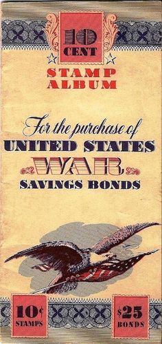 10 cent stamps - War Savings Bonds book popular with children during WW2 - via National WWII Museum