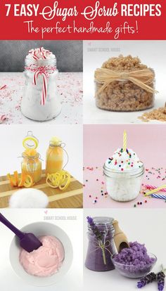 Sugar Scrub Recipes Looking for a quick and easy gift Here are 7 easy sugar scrub recipes that are the perfect handmade gifts!Looking for a quick and easy gift Here are 7 easy sugar scrub recipes that are the perfect handmade gifts! Diy Body Scrub, Diy Scrub, Diy Spa, Homemade Scrub, Homemade Gifts, Sugar Scrub Recipe, Homemade Beauty Products, Beauty Recipe, Home Made Soap