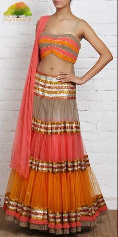 Multicoloured Net Lehenga Set with Gota Work by Parul Grover at Indianroots.com