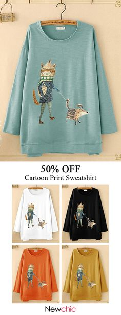 Amazing Casual O-neck Cartoon Print Long Sleeve Sweatshirt for Women on Newchic, there is always a plus size hooded sweatshirts that suits you! Printed Sweatshirts, Hooded Sweatshirts, Plus Size Hoodies, Cosplay, Summer Outfits Women, Casual T Shirts, Winter Wear, Cute Outfits, Fashion Outfits