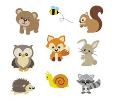 Woodland Animals Digital stamps Clipart by pixelpaperprints Hand Embroidery Patterns Free, Embroidery Flowers Pattern, Baby Embroidery, Embroidery Transfers, Free Machine Embroidery, Vintage Embroidery, Applique Patterns, Clipart, Machine Applique Designs