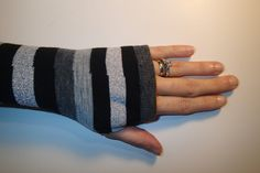 Fingerless Gloves Skin Protectors Arm Warmers Bike Gloves Cell Phone Gloves Tattoo Covers BLACK & GREY Stripe Knit Cotton with thumb opening by EzAdultCareProducts on Etsy