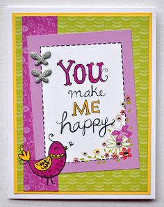 DAT'S My Style: March Stamp of the Month Blog Hop - Sunshine Birdies #CTMHPenelope - card front