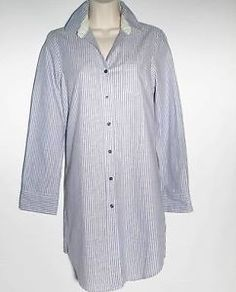 Nautica Boyfriend Sleepshirt New Crown Blue Gown Buttondown with Collar Small