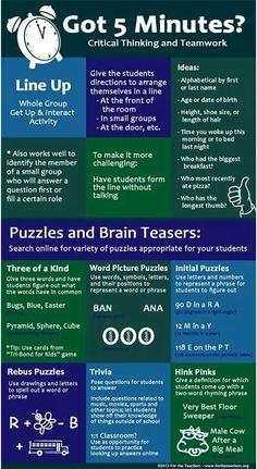 Critical thinking and team work activities