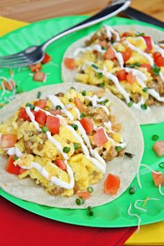 Sausage and Egg Scramble Tacos ~ The Kitchen Life of a Navy Wife minus hot sauce for me but would add sour cream...