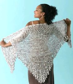 Crochet Shawl for Summer    By: Caron    This crochet shawl for summer is great to wear over a dress on a chilly summer night. Try this free crochet pattern to make a pretty shawl with fringe for all of those special occasions.