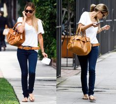 visible belt with skinny jeans and purse