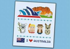 Australia icons - Mini people around the world - PDF cross stitch pattern. Look out for more fun country patterns too!