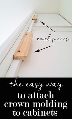 kitchen decor The easy way to attach crown molding to wall cabinets that don't reach the ceiling! I wish all crown molding was this easy to install when decorating a home. Ideas Prácticas, Cool Ideas, Ikea Ideas, Decor Ideas, Decorating Ideas, Easy Home Decor, Cheap Home Decor, Home Improvement Projects, Home Projects