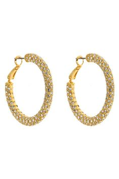 """Heavy on style, but not on your ear lobes, the Eve Earrings have a rich, crystal texture.Post back and surgical steel posts.    Measures: 1 1/4"""" diameter x 1/4"""" W   Eve Hoop Earrings by Fornash. Accessories - Jewelry - Earrings - Hoops Virginia"""