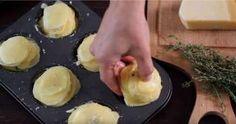 Parmesan potato stacks 3 teaspoons butter 2 teaspoons Parmesan cheese 1 teaspoon garlic powder 1 teaspoon thyme leaves salt freshly ground black peppeer gold potatoes, cut into inch slices Parmesan Potato Stacks Recipe, Parmesan Potatoes, Sliced Potatoes, Oven Potatoes, Potatoes Anna, Cheesy Potatoes, Roasted Potatoes, Potato Snacks, Potato Dishes