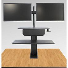 Clayton Sit to Stand Desk Mount with Double Monitor Arm, 8804468