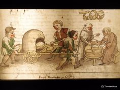 Depiction of a century mobile baking oven in Constance, Germany Saxony Anhalt, Rhineland Palatinate, Lower Saxony, North Rhine Westphalia, Medieval Manuscript, 15th Century, Oven Baked, Bavaria, Archaeology