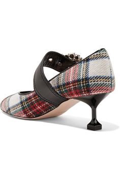 Miu Miu | Embellished tartan tweed pumps | NET-A-PORTER.COM