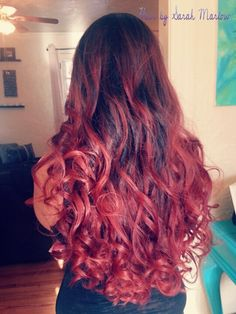 beautiful long red ombre hair =) That is almost EXACTLY what I want!