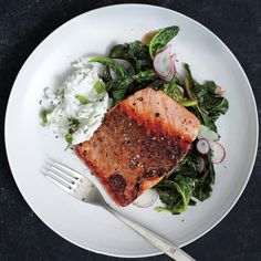 Salmon Dinner with Asian Daikon, Greek Yogurt, and Southern Collard Greens: The daikon is Asian, the yogurt Greek, the collards Southern, and the salmon... Irish? Norwegian? Doesn't matter: This dish is out of this world