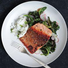 Pan-Roasted Salmon with Collards and Radish Raita