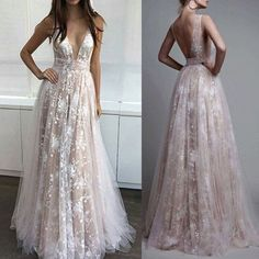 Ivory Lace Deep V Neck Backless Long Prom Dresses Evening Gowns,Off the Shoulder Open Back Evening Party Dress LD037