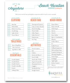 FREE download for beach vacation packing checklist includes items you need for a beach house rental and beach activities.