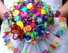 Over the Rainbow multicoloured button bouquet