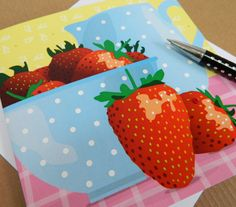 Strawberries and Cream Greetings Card by Jane Crick