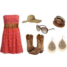Pretty colored strapless dress, boots, earrings, sunglasses' and a sun hat:)