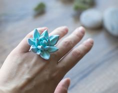 Succulent ring  plant ring  tropical jewelry  by GentleDecisions