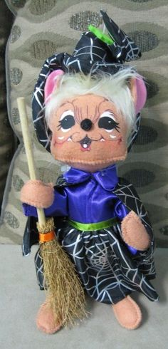 "RARE Annalee 8"" Spider Web Witch Mouse with Broom HALLOWEEN Adorable! NWT NEW #AnnaleeDolls #Mouse"