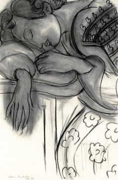 Sleeping Woman  (also known as The Dream)  Henri Matisse - 1939   Private collection	  Drawing - charcoal