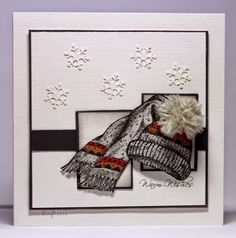 winter hat and scarf card by Birgit... love the pom-pom